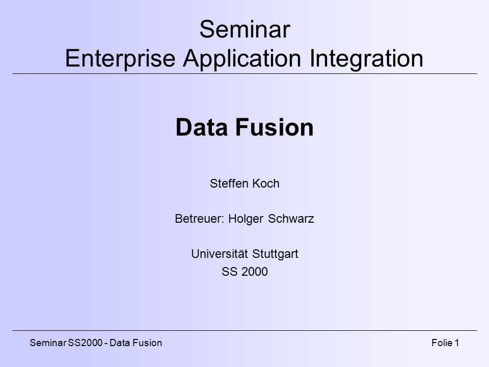 Seminar Enterprise Application Integration