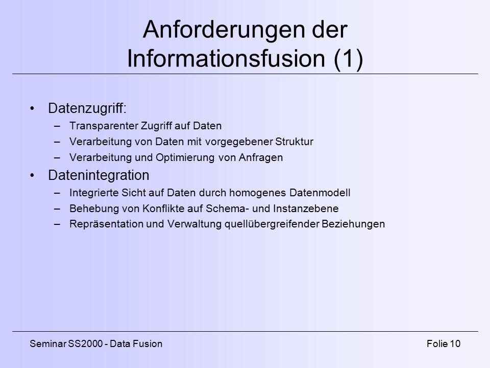 Anforderungen der Informationsfusion (1)