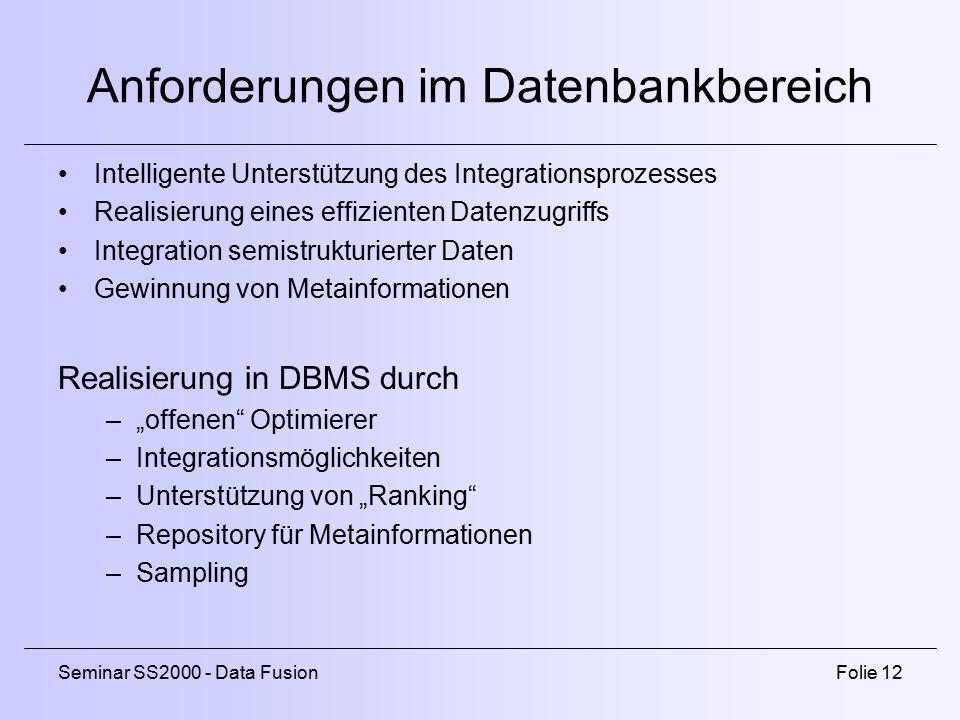 Anforderungen im Datenbankbereich