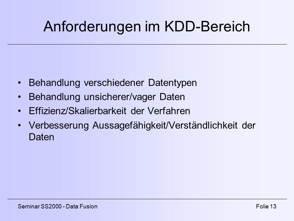 Anforderungen im KDD-Bereich