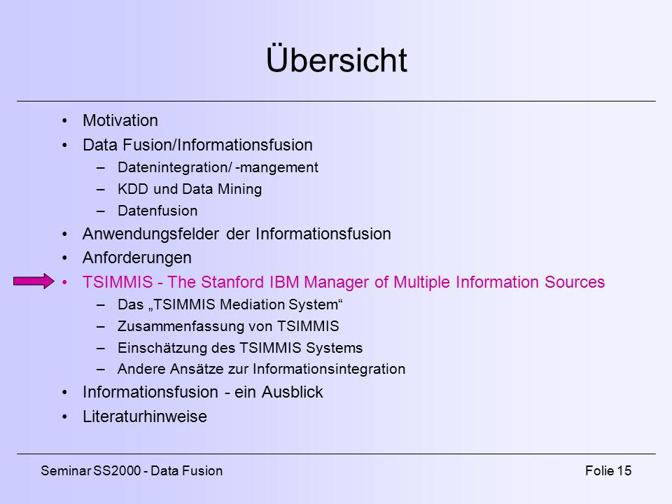 Übersicht Motivation Data Fusion/Informationsfusion