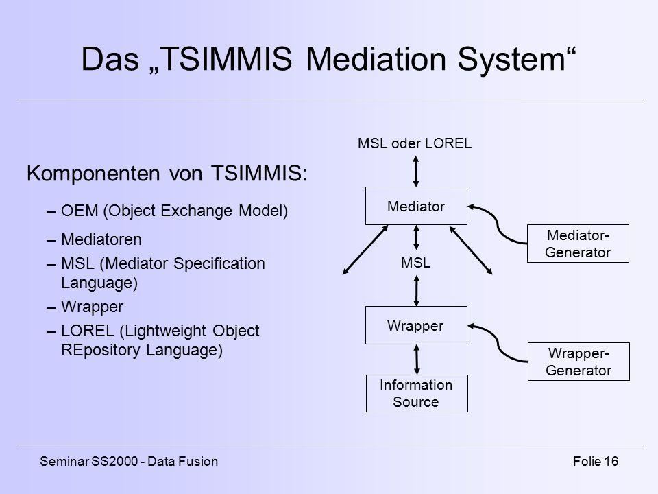 "Das ""TSIMMIS Mediation System"