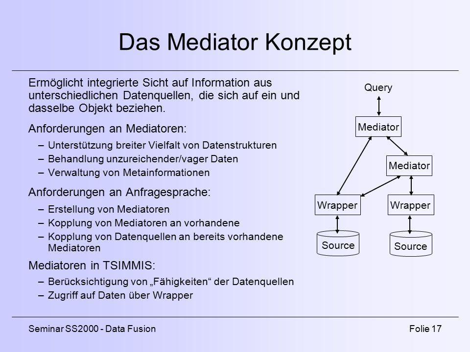 Das Mediator Konzept Ermöglicht integrierte Sicht auf Information aus unterschiedlichen Datenquellen, die sich auf ein und dasselbe Objekt beziehen.