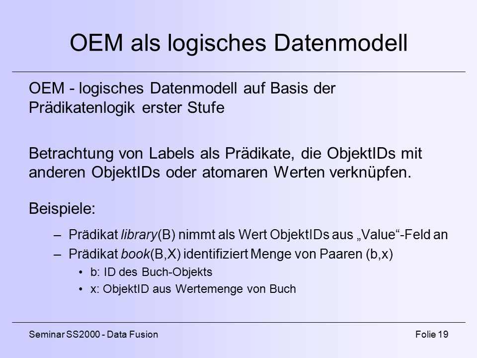 OEM als logisches Datenmodell