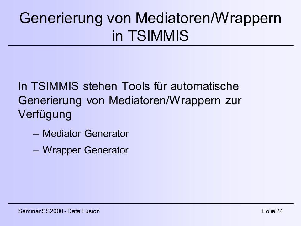 Generierung von Mediatoren/Wrappern in TSIMMIS