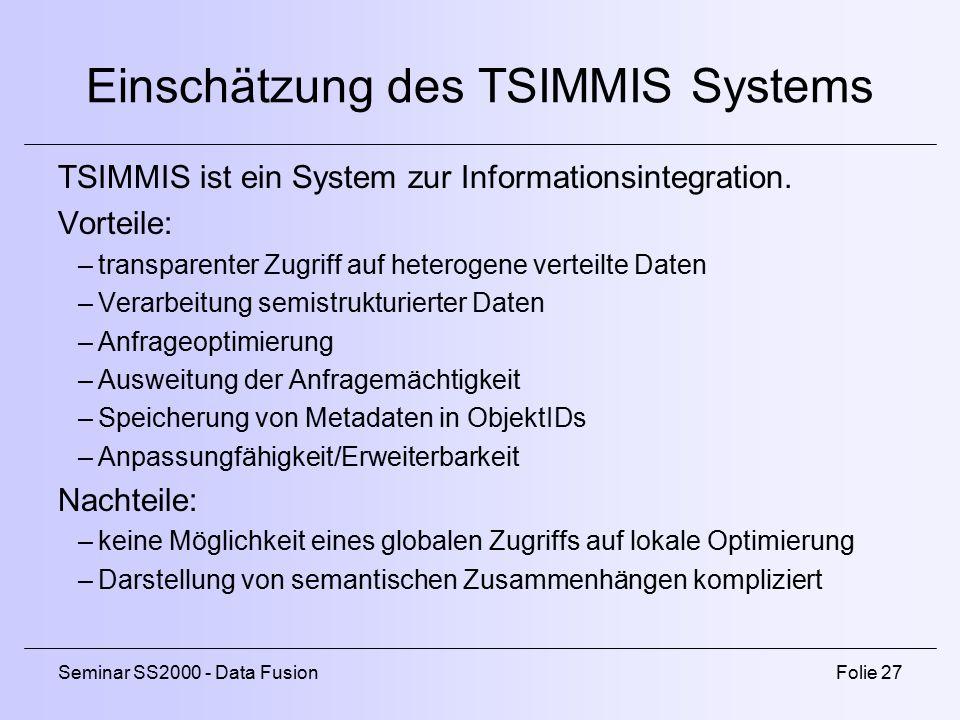 Einschätzung des TSIMMIS Systems