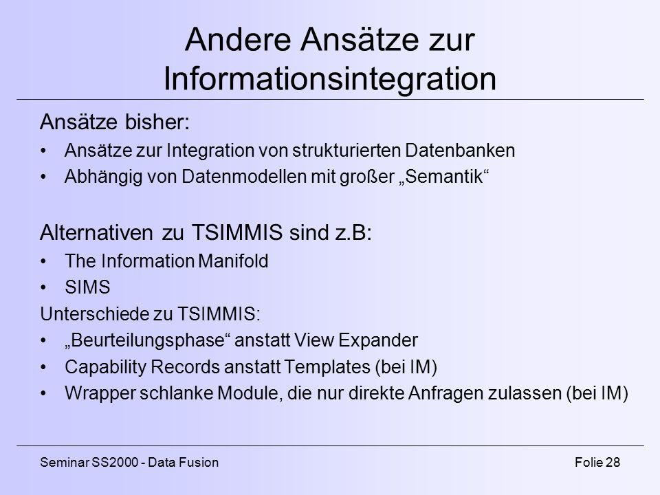 Andere Ansätze zur Informationsintegration