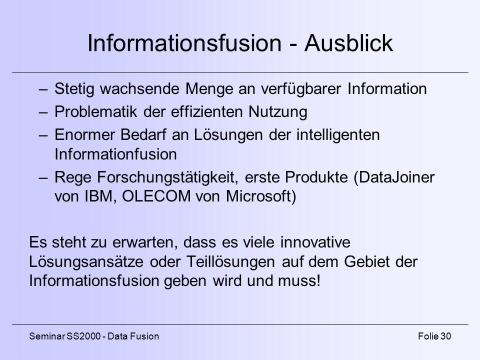 Informationsfusion - Ausblick