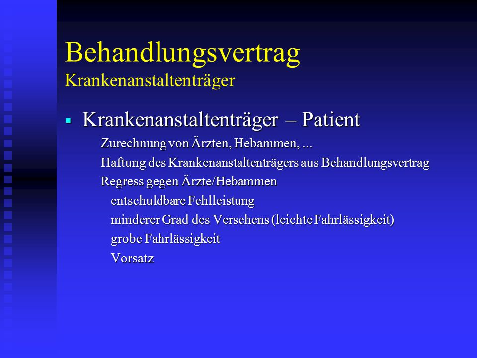 Behandlungsvertrag Krankenanstaltenträger