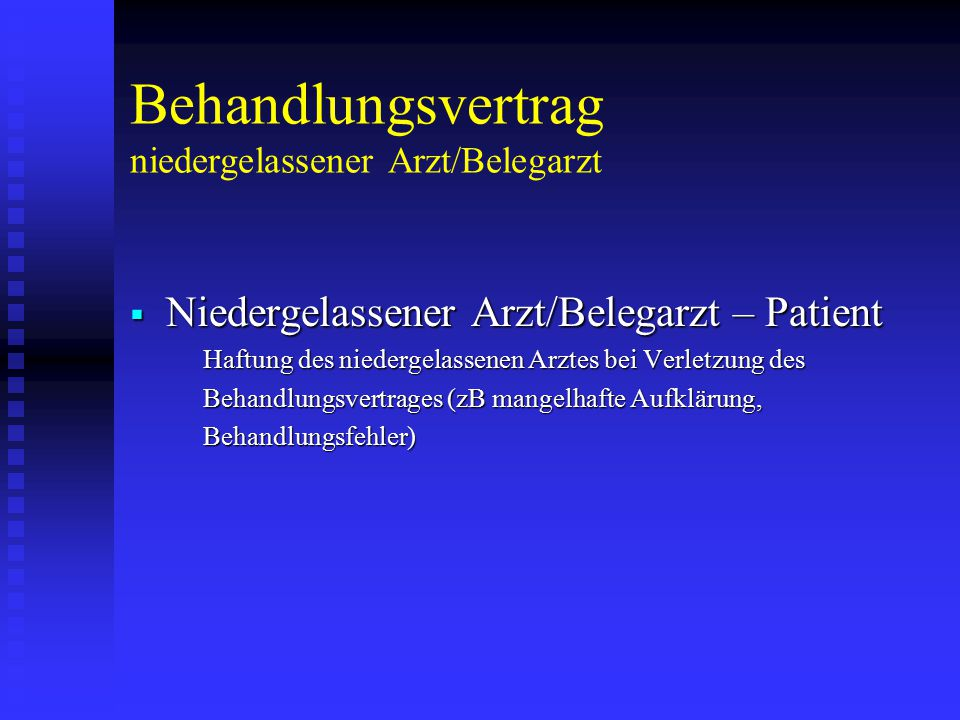 Behandlungsvertrag niedergelassener Arzt/Belegarzt