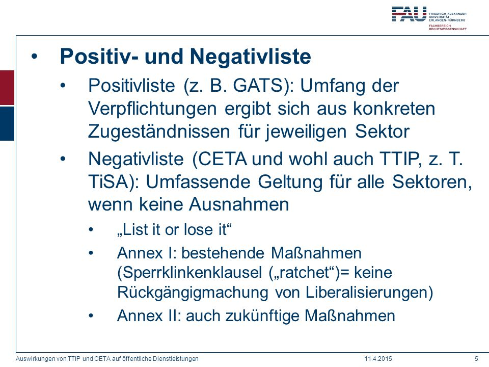 Positiv- und Negativliste
