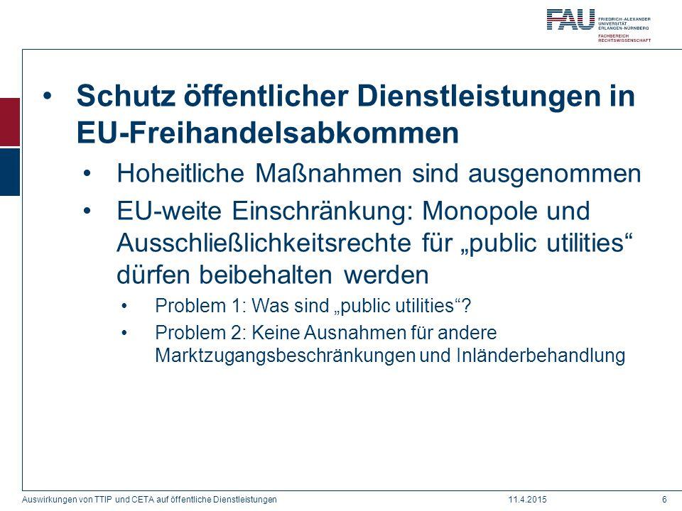 Schutz öffentlicher Dienstleistungen in EU-Freihandelsabkommen