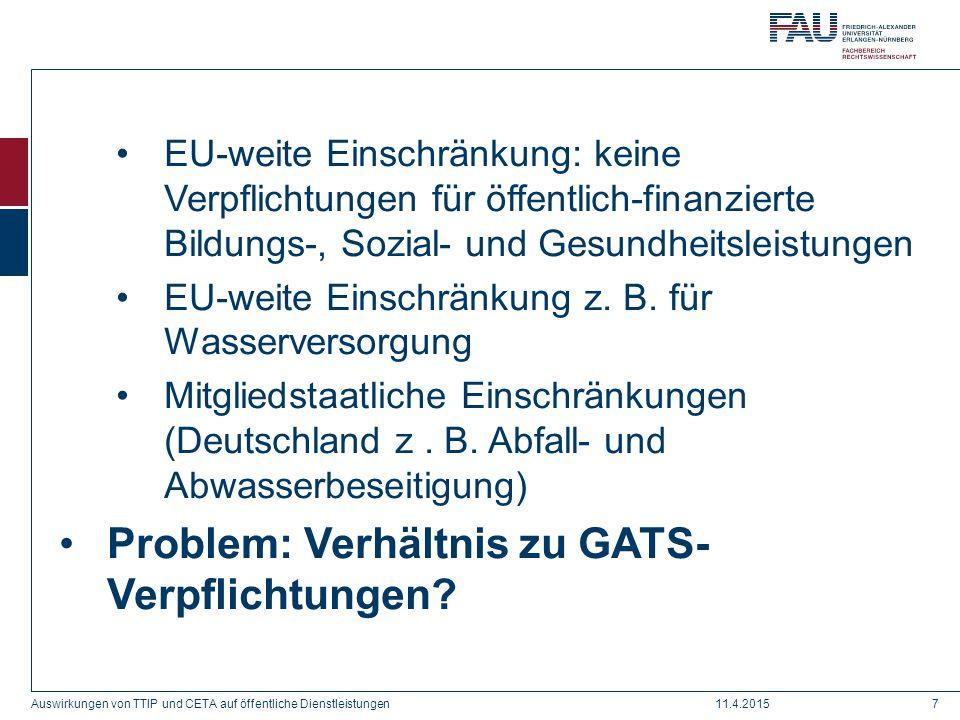 Problem: Verhältnis zu GATS-Verpflichtungen