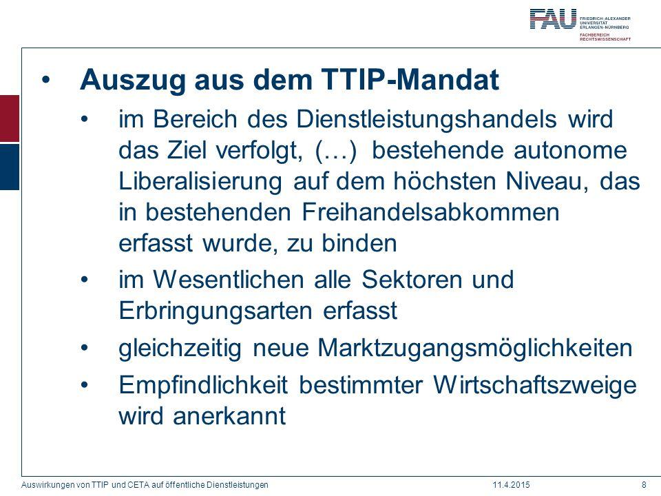 Auszug aus dem TTIP-Mandat