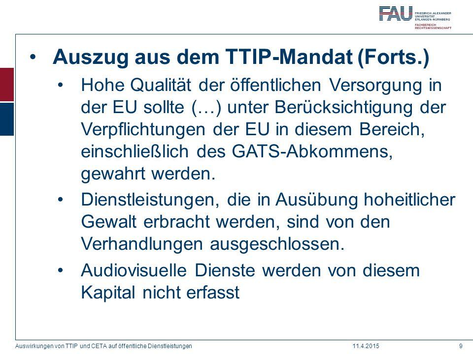 Auszug aus dem TTIP-Mandat (Forts.)