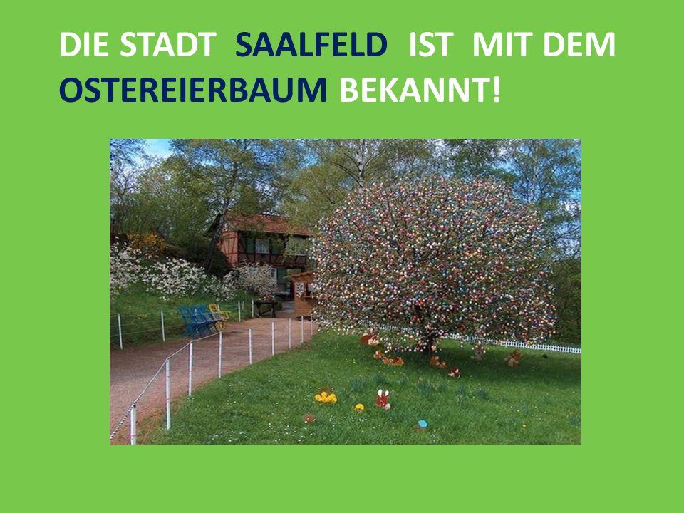 die Stadt Saalfeld ist mit dem Ostereierbaum bekannt!