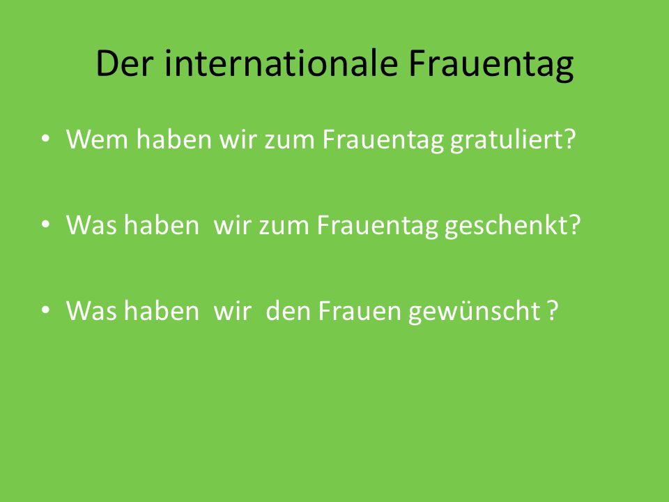Der internationale Frauentag