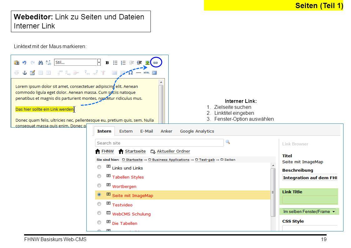 Webeditor: Link zu Seiten und Dateien Interner Link