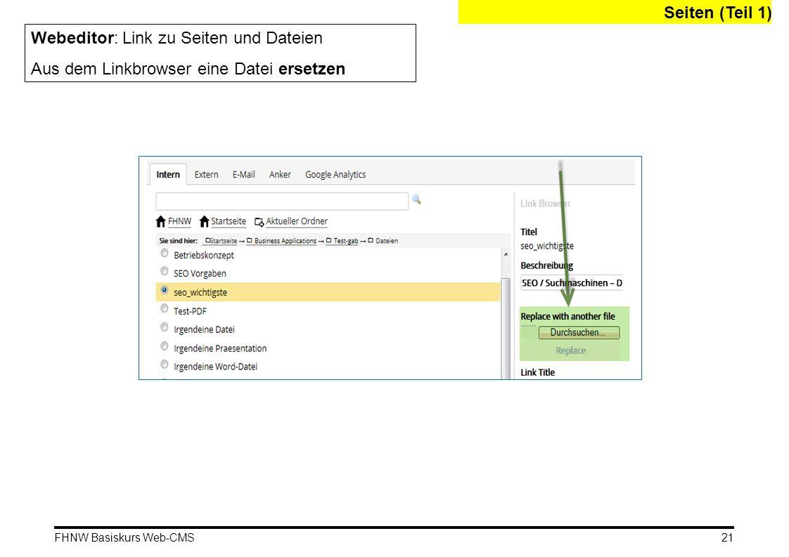 Webeditor: Link zu Seiten und Dateien