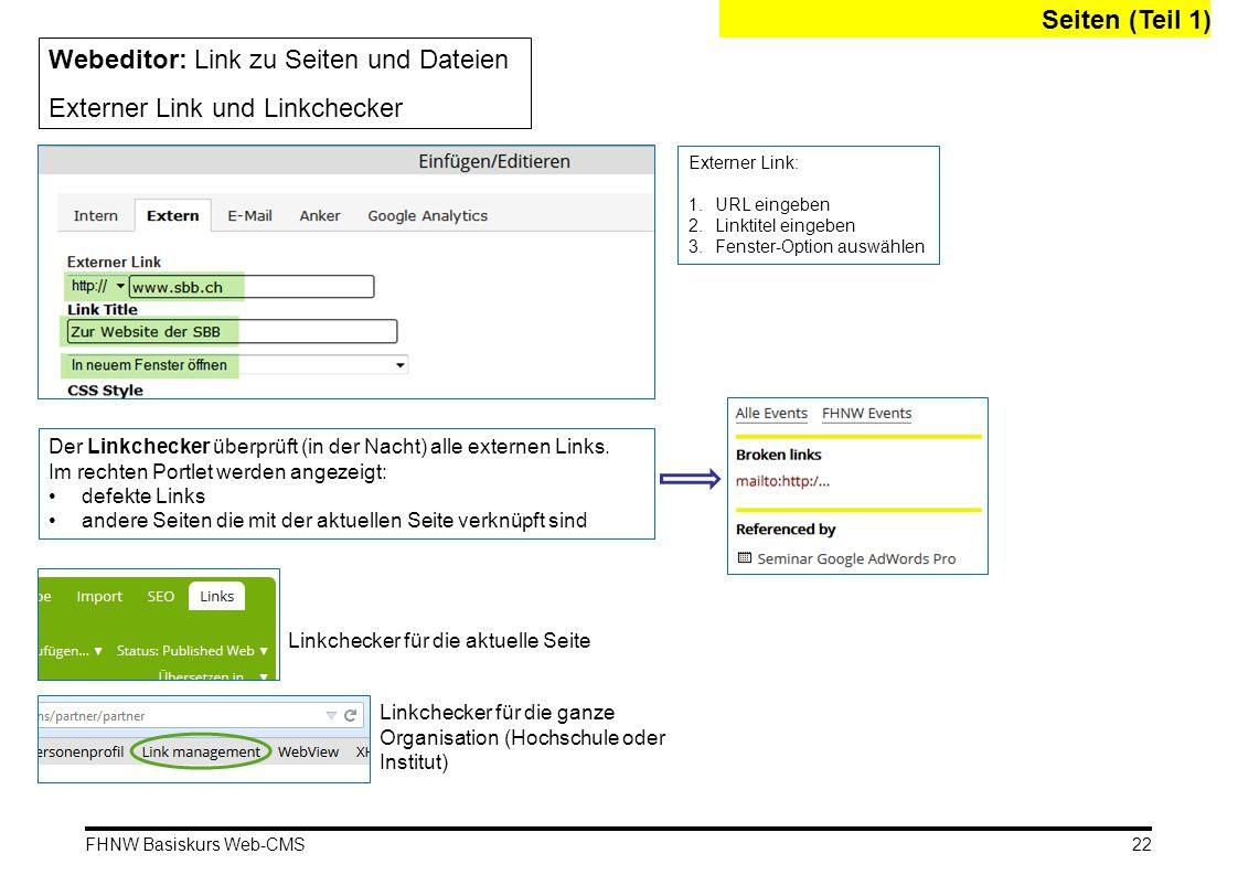 Webeditor: Link zu Seiten und Dateien Externer Link und Linkchecker