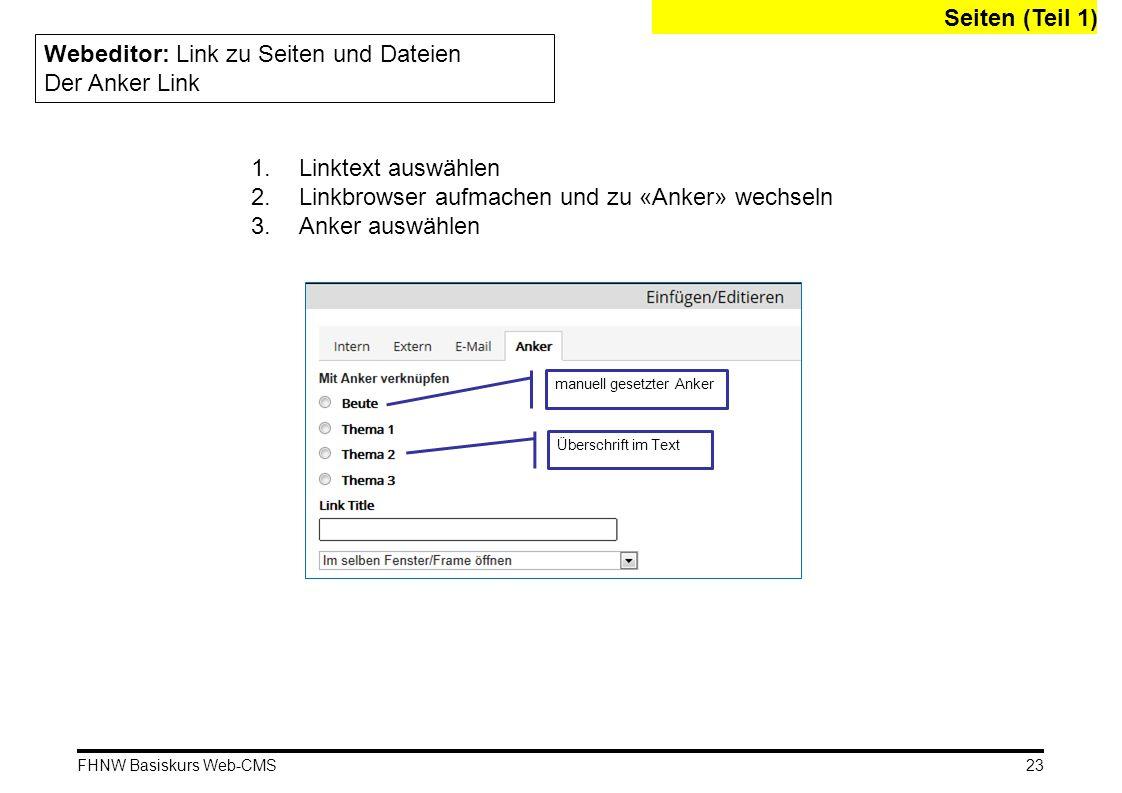 Webeditor: Link zu Seiten und Dateien Der Anker Link