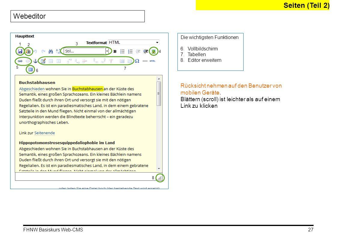 Seiten (Teil 2) Webeditor