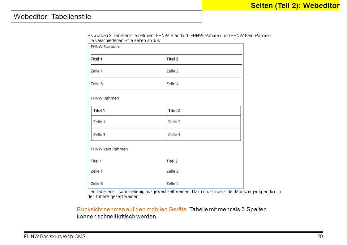 Seiten (Teil 2): Webeditor Webeditor: Tabellenstile