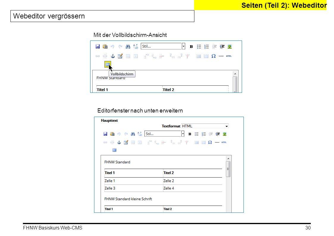 Seiten (Teil 2): Webeditor Webeditor vergrössern