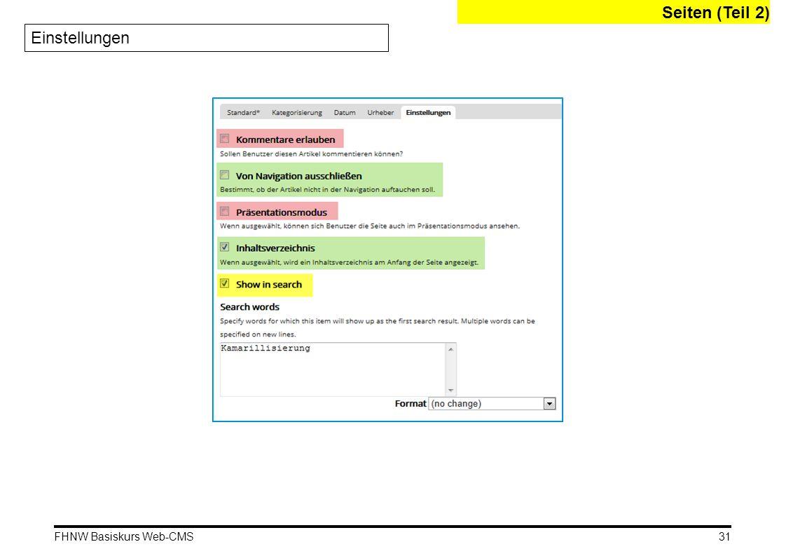 Seiten (Teil 2) Einstellungen FHNW Basiskurs Web-CMS