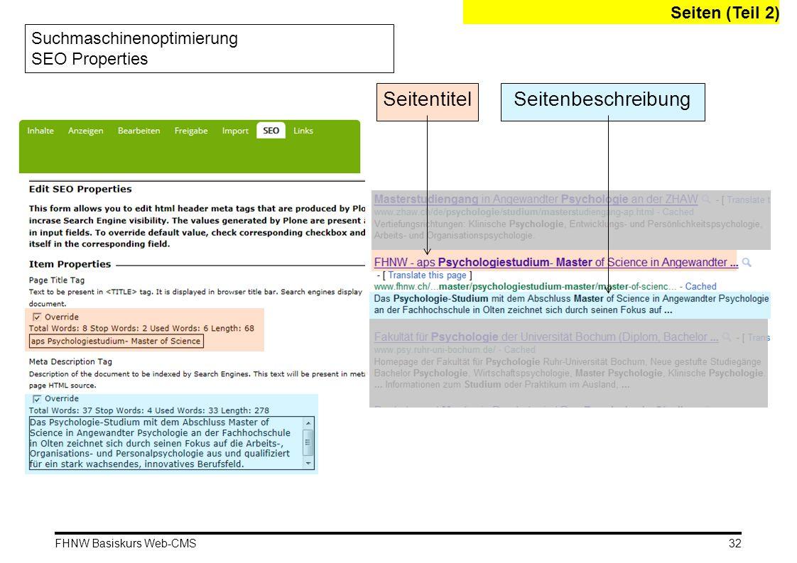 Seitentitel Seitenbeschreibung Seiten (Teil 2)