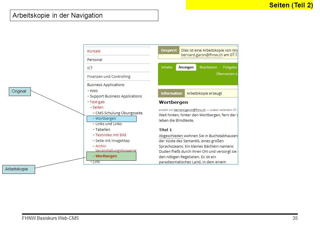 Arbeitskopie in der Navigation
