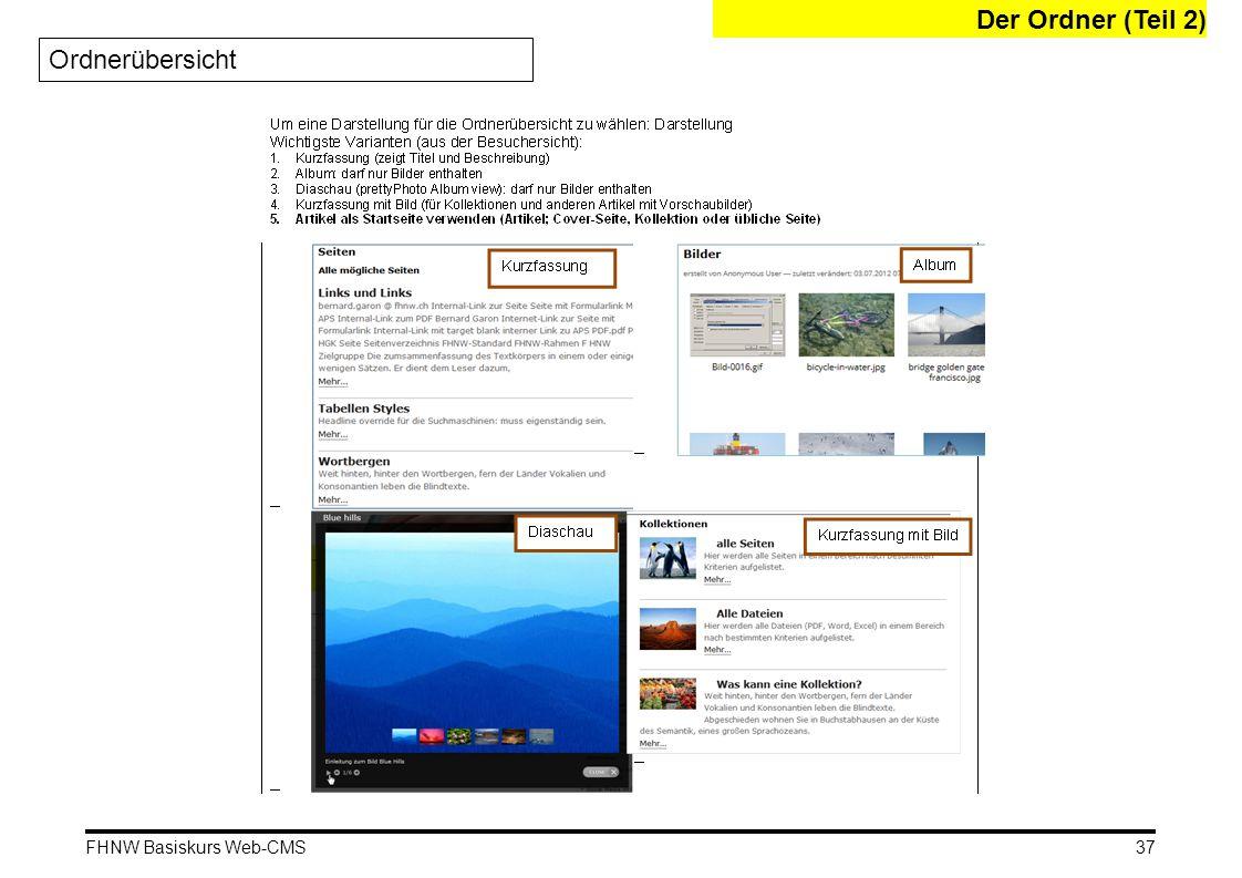 Der Ordner (Teil 2) Ordnerübersicht FHNW Basiskurs Web-CMS