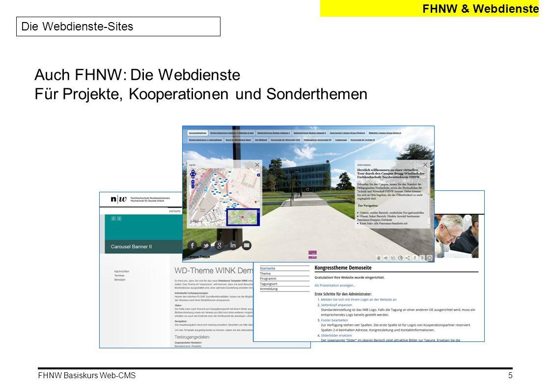 Auch FHNW: Die Webdienste Für Projekte, Kooperationen und Sonderthemen
