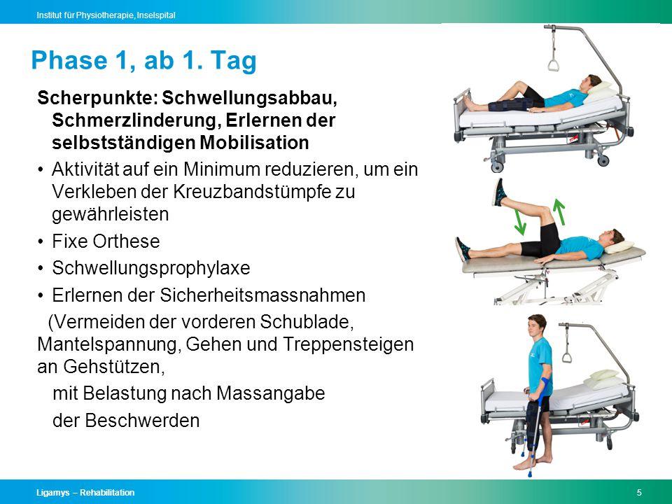 Phase 1, ab 1. Tag Scherpunkte: Schwellungsabbau, Schmerzlinderung, Erlernen der selbstständigen Mobilisation.