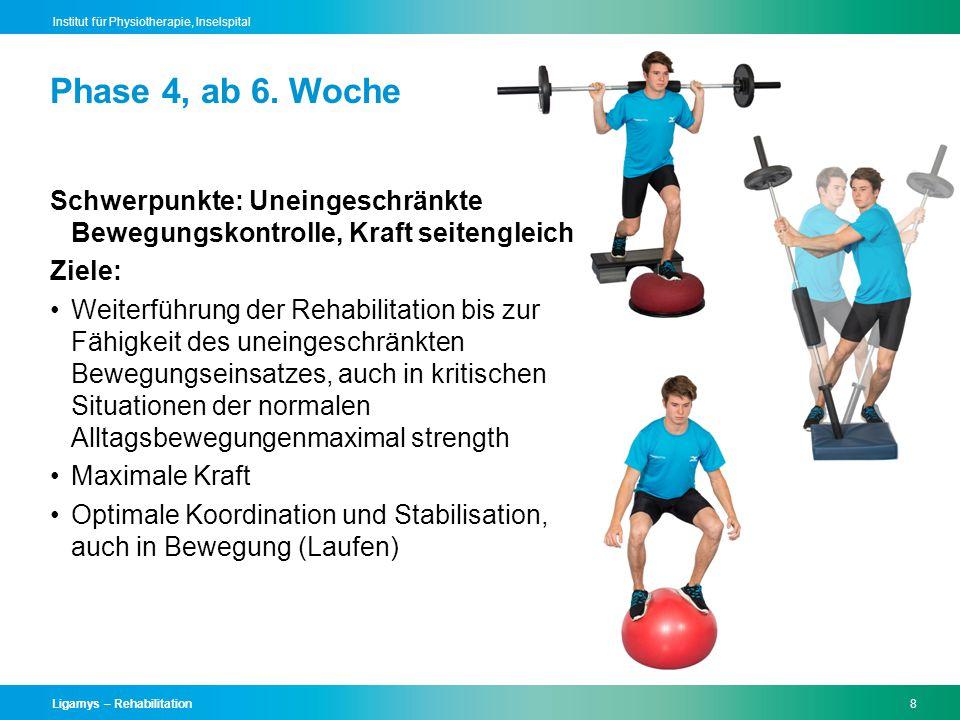 Phase 4, ab 6. Woche Schwerpunkte: Uneingeschränkte Bewegungskontrolle, Kraft seitengleich. Ziele: