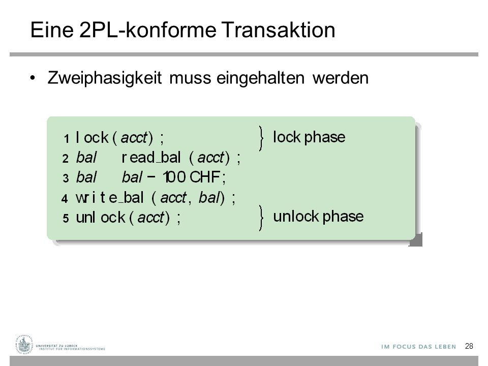 Eine 2PL-konforme Transaktion