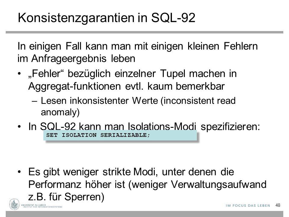 Konsistenzgarantien in SQL-92
