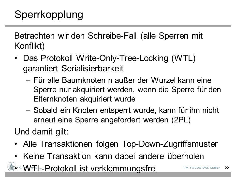 Sperrkopplung Betrachten wir den Schreibe-Fall (alle Sperren mit Konflikt) Das Protokoll Write-Only-Tree-Locking (WTL) garantiert Serialisierbarkeit.