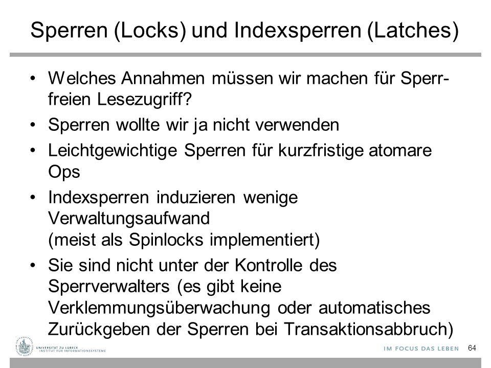 Sperren (Locks) und Indexsperren (Latches)