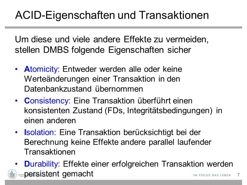ACID-Eigenschaften und Transaktionen