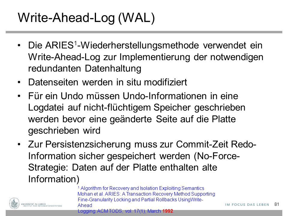 Write-Ahead-Log (WAL)