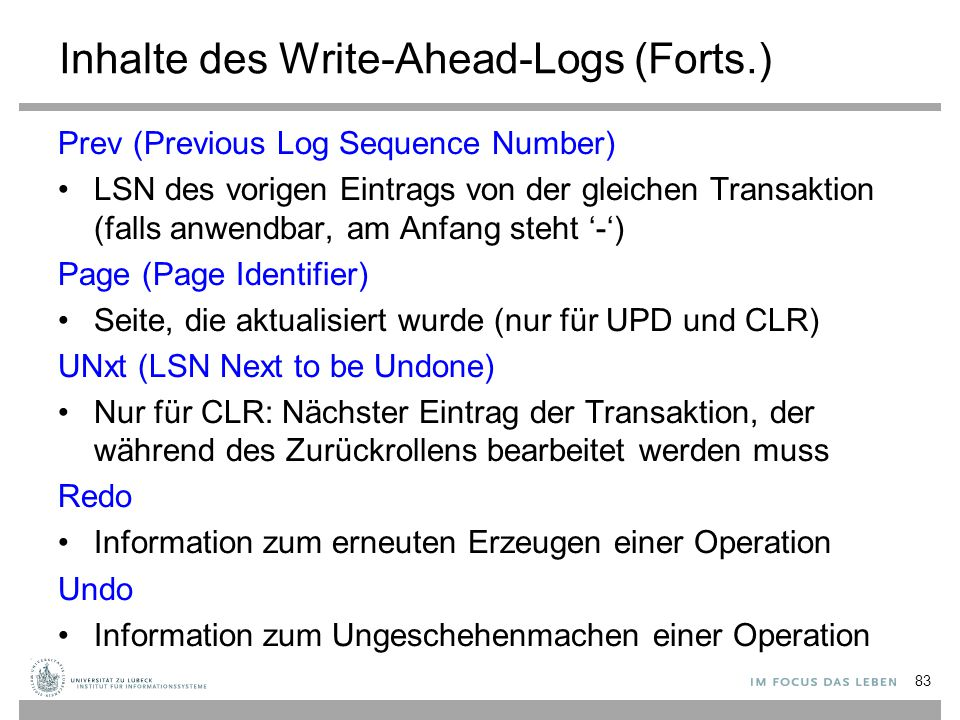Inhalte des Write-Ahead-Logs (Forts.)