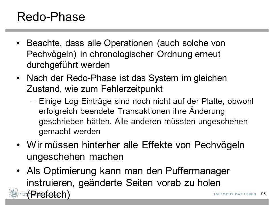 Redo-Phase Beachte, dass alle Operationen (auch solche von Pechvögeln) in chronologischer Ordnung erneut durchgeführt werden.