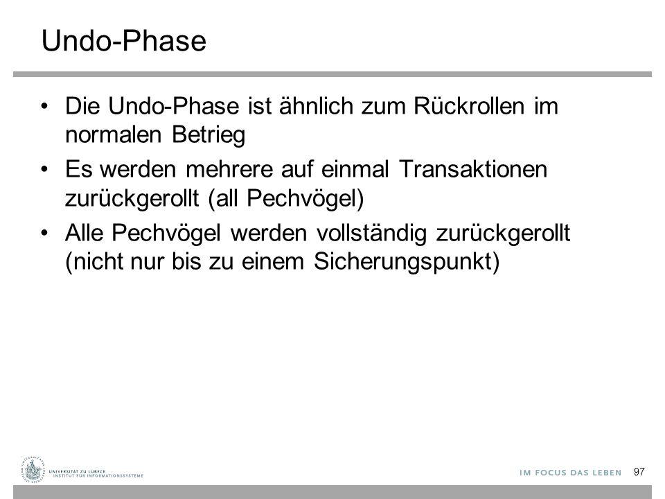 Undo-Phase Die Undo-Phase ist ähnlich zum Rückrollen im normalen Betrieg. Es werden mehrere auf einmal Transaktionen zurückgerollt (all Pechvögel)