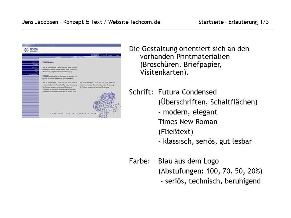 Schrift: Futura Condensed (Überschriften, Schaltflächen)