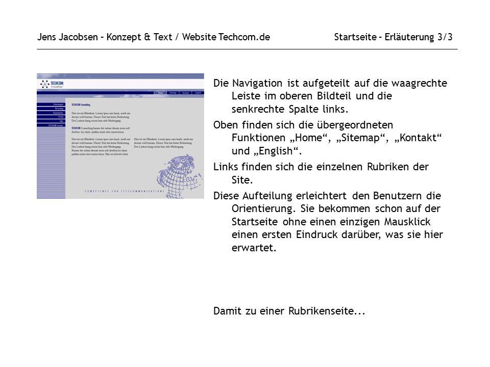 Links finden sich die einzelnen Rubriken der Site.
