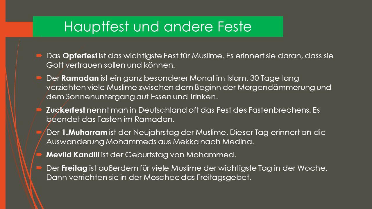 Hauptfest und andere Feste