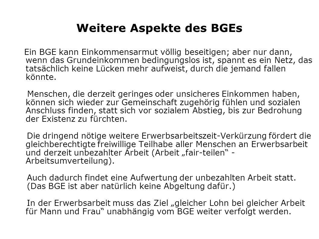 Weitere Aspekte des BGEs