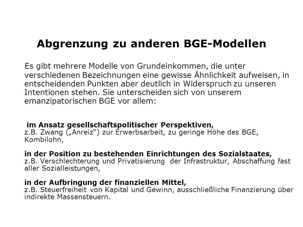 Abgrenzung zu anderen BGE-Modellen
