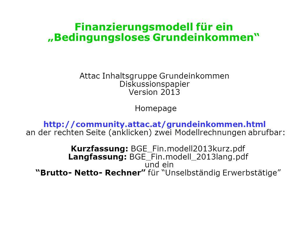 """Finanzierungsmodell für ein """"Bedingungsloses Grundeinkommen"""